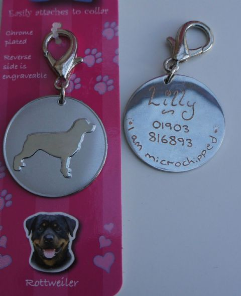ROTTWEILER  CHROME PET TAG ENGRAVED FREE